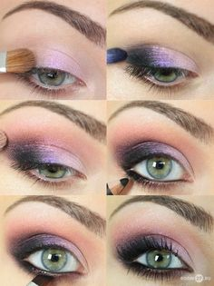 step by step smoky with purple eye shadow