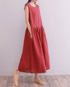 08afbdab39a YUHEYUHE Womens Casual Loose Clothing Long Sleeveless Sundress Soft Summer  Cotton Linen Dress with Pockets >