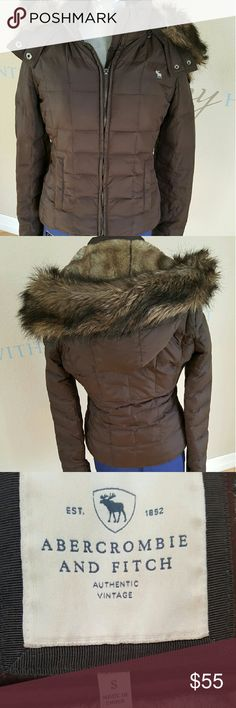 Abercrombie and Fitch coat Amazingly adorable Abercrombie and Fitch coat, brown with fur (faux) hood...see that soft furry hood?? The whole inside of the coat is lined with it!!! Yes awesome! Abercrombie & Fitch Jackets & Coats