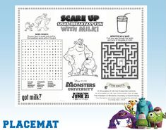 Monsters University Printable Activity Placemat - Disney Savers
