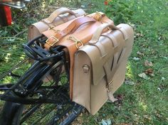 Custom made leather bike pannier bags by TimsSatchels on Etsy