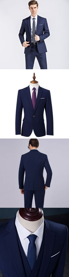 Jbersee Jacket+Pants Mens Suit Dark Blue and Black Men Tunic Suit Party Wedding Suits for Men Classic Business Slim Fit Suit Men #menweddingsuits