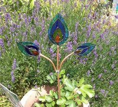 Charmant Stained Glass Peacock Feathers Garden Stake