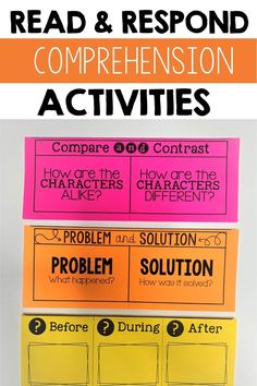 It's so important to make sure your students are not just reading fluently, but also comprehending! My Fiction and Nonfiction Reading Response Bundle includes a variety of fun and engaging activities for students to work on their reading comprehension. This resource is most appropriate for first grade, second grade, and third grade students. #annabrantleysteachingresources #readingcomprehension #firstgrade #secondgrade Primary Teaching, Teaching Activities, Teaching Resources, Teaching Ideas, Reading Comprehension Activities, Guided Reading Groups, Teacher Lesson Plans, Fiction And Nonfiction, Problem And Solution