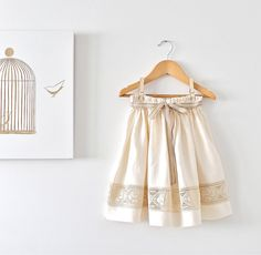 Girls Natural Linen and Lace Ivory Skirt-Special Occasion Toddler Skirt-Bow-Summer Girls Skirt-Children Clothing by Chasing Mini on Etsy, $43.78