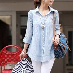 Camisa Feminina Manga Longa em Denim (jeans)