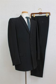 c6a0d88278 1950 s Men s Black Wool 3 Button Suit   Black with Small Blue Threads    Size  42   32 1 2