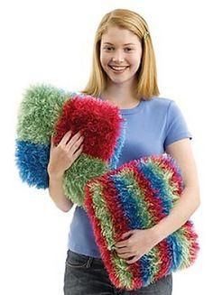 Ravelry: Teen Squares Pillow pattern by Lion Brand Yarn Knitting Patterns Free, Free Knitting, Free Pattern, Crochet Home, Knit Crochet, Lion Brand Patterns, Ruffle Yarn, Crochet Cushions, Yarn Store