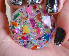 Pop Party Iridescent Resin Bubble Ring, Confetti Surprise Rainbow Glitter Statement Ring, Unique & Colorful One of a Kind GlitterFusion Ring