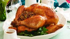 Christmas turkey with bacon and cranberry stuffing