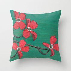 Pink Dogwood Throw Pillow by Kate Halpin  - $20.00