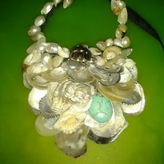 White Mother of Pearl shells mixed shells and turquoise oval, fresh water pearls.  all shells found on the beaches, Oahu, Hawaii by the Lost Mermaid