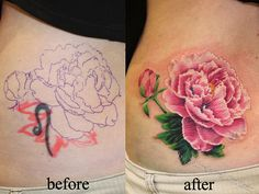 peony tattoo to cover my Cheshire cat.