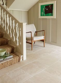 Moleanos Beige Tumbled Limestone.....and the sissal stair runner too xxx