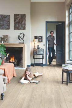 Quick-Step Laminate Flooring - Impressive 'Saw cut oak beige' in a classic living room. Laminate Flooring Colors, Waterproof Laminate Flooring, Basement Flooring, Living Room Flooring, Timber Flooring, Flooring Options, Kitchen Flooring, Hardwood Floors, Flooring Ideas