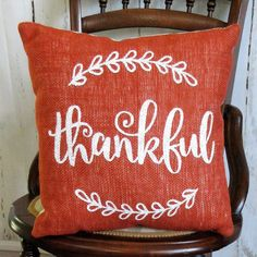 Made from a burnt orange colored burlap fabric. Hand-stenciled in white or the color of your choice. Lined in muslin with a muslin backing. Size 14 x 14 Stenciled Pillows, Burlap Pillows, Fall Pillows, Throw Pillows, Colored Burlap, Fall Bags, Thanksgiving Decorations, Fall Decorations, Burlap Fabric