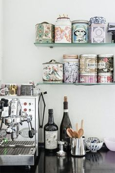 Find tins and even plastic bottles and cover them. Paint lids with plastic paint