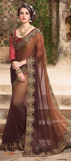 707624 Beige and Brown  color family Embroidered Sarees, Party Wear Sarees in Faux Georgette, Jacquard fabric with Machine Embroidery, Resham, Thread, Zari work   with matching unstitched blouse.