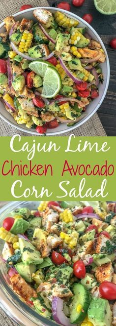 Cajun Lime Chicken Avocado Corn Salad – Cajun Lime Chicken Avocado Corn Salad – this salad has so much taste! Creamy, light and with – # CajunKalk Chicken avocado corn salad Corn Avocado Salad, Avocado Dessert, Corn Salads, Avocado Toast, Chicken Avocado Salad, Cajun Chicken Salad, Avocado Butter, Avocado Chicken Recipes, Cilantro Lime Chicken