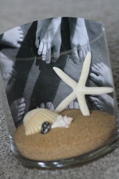 love this idea as a photo and keepsake from our first vaca with the beach and nana and pop pop!!  @Cheryl Marino