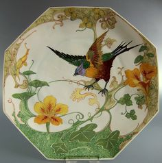 "Rozenburg, Den Haag, ""Eggshell Porcelain"" plate, painted by H.G.A. Huyvenaar, 1913."