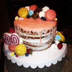 Naked drip cake with lemon curd filling #30thbirthdaycake