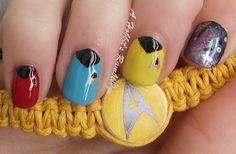 Star Trek nail art. Pointer finger may get chopped off......