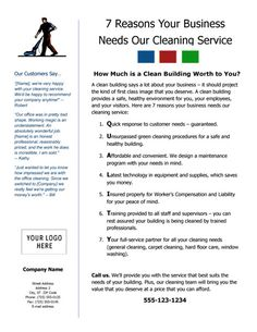 Cleaning Service Flyer - 7 Reasons Your Business Needs Our Cleaning Service