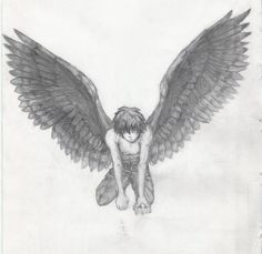 Anime boy with angel wings Angel Drawing, Boy Drawing, Art Manga, Anime Art, Anime Boys, Art Sketches, Art Drawings, Ange Demon, Angels And Demons