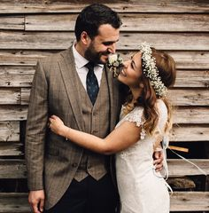 vibes from Mr & Mrs Wood at Ben is wearing a bespoke jacket & waistcoat in a classic brown Prince of Wales check. Wedding Suit Hire, Wedding Men, Country Barn Weddings, Tweed Suits, Bespoke Tailoring, Bridesmaid Dresses, Wedding Dresses, Traditional Wedding, Mr Mrs