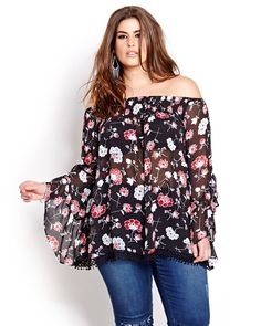 Show off your shoulders in this plus size chiffon blouse by Love & Legend with a boho chic vibe!  It features a boat neck, wide 3/4 bell sleeves with dramatic frills and crochet lace trim finish at hemline. 28 inch  length. Light and airy for cool every day look.