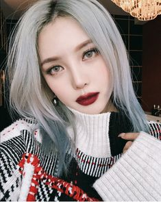 asian makeup – Hair and beauty tips, tricks and tutorials Korean Beauty Tips, Asian Beauty, Pony Makeup, Hair Makeup, Eye Makeup, Silver Ash Hair, Mode Emo, Korean Hair Color, Burgundy Lips