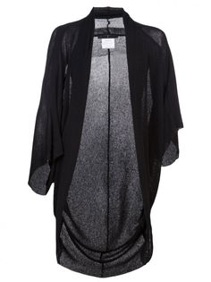 JULIUS - Silk Cotton Fraise Knit Wrap Cardigan - 417KNM2 BLACK - H. Lorenzo