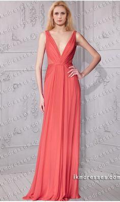 http://www.ikmdresses.com/plunging-V-neckline-flattering-ruched-floor-length-evening-dress-p60460