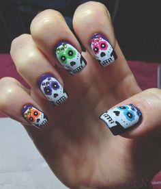 Sugar Skulls by 352nicole - Nail Art Gallery nailartgallery.nailsmag.com by Nails Magazine www.nailsmag.com #nailart
