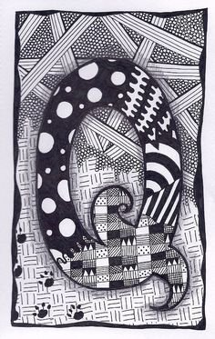 Zentangle Letter Q Zebra Letters name bunting by ForeverTangles, £3.50