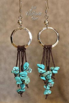 Beaded Jewelry These beautiful earrings are made using Hammered Silver Metal Rings, Small Silver Plated Beads, Brown Hemp Cord and Faux Turquoise Nugget Diy Earrings, Leather Earrings, Leather Jewelry, Wire Jewelry, Boho Jewelry, Earrings Handmade, Jewelry Crafts, Beaded Jewelry, Jewelery