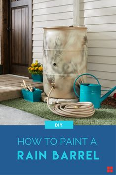 A DIY painted rainbarrel is just what your yard needs. Collect the rain in a personalized container using Rust-Oleum primer and paint. Whether you give it stripes like we did, or choose a different design, painting a rainbarrel is easy and you can give it more personality than just a plain blue color. Just a few cans of spray paint and a few hours of dry time and your rainbarrel will look like it's meant to blend right into your house garden, landscaping and home decor.