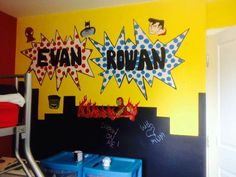 Boys mavel theme bedroom muriel gift colour blackboard paint