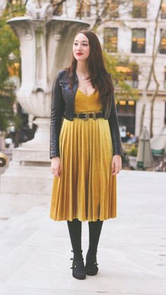 "Thanksgiving Outfit Inspo - Velvet Midi Dress And Black Accents - As first seen on blog ""The Most Happy"" here: Thanksgiving Outfit Inspo - Velvet Midi Dress And Black Accents She is wearing tights similar here: Black Super Opaque Tights A maximum opaque wash provides a chic on-trend appeal to these sleek tights. Made from a pliable nylon and spandex blend a silky-soft knit texture allover and a control top that helps to cinch in your waistline gives you the slimmer silhouette you crave; pair…"