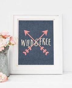 PRINTABLE Art Wild and FREE Denim Print by WillowandBirchPrints