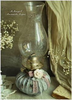 """Старинная керосиновая лампа """"Пыльная Роза"""" - M.Mariya.S"""