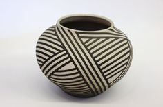 Studio art pottery, Nicholas Bernard, Earthenware vessel with black and white native American surface decoration