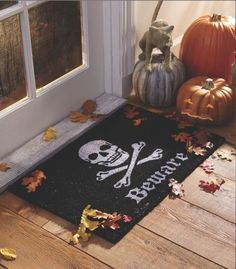 Skull and bones mat halloween halloween pictures halloween images halloween ideas beware skull and bones Halloween Porch, Halloween Design, Fall Halloween, Halloween Crafts, Happy Halloween, Halloween Decorations, Halloween Ideas, Halloween Pictures, Halloween Designs