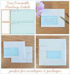 Free Printable Mailing Labels - Aqua and Orange - Creature Comforts Free Printable Stationery, Printable Labels, Printable Designs, Printable Paper, Free Printables, Labels Free, Journal Fonts, Journal Cards, Mailing Labels