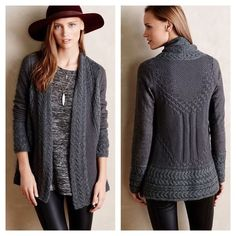 Regan Mix-Stitch Cardigan Size Small dark grey Regan Mix-Stitch Cardigan by Knitted & Knotted by Anthropologie. EUC—no flaws whatsoever because I only wore it a couple times! And I've taken loving, gentle care of it. Super soft and cozy! Anthropologie Sweaters Cardigans