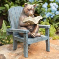 Our Reading Bear Garden Statue is a charming garden accent. And we could all learn a lesson from this clever bear: take time to relax and enjoy a good book. Made of all-weather resin and stone powder with the look of cast bronze. Rabbit Garden, Garden Owl, Garden Ideas, Garden Animals, Garden Whimsy, Garden Junk, Backyard Ideas, Frog Statues, Animal Statues