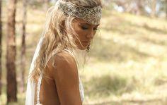#boho #beaded #headpiece #veil #wedding