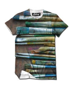 """belovedwear® presents the #Paintbrushes Tee. This """"all over"""" print T-Shirt is made using a special sublimation technique to provide a vivid graphic image throughout the shirt. • 100% Polyester • All O"""