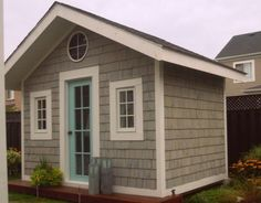 House of Turquoise: Just Beachy Bunkie House Of Turquoise, Turquoise Door, Light Turquoise, My Pool, Shed Design, Patio Design, House Design, Shed Plans, Cabin Plans